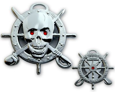 Pirate Skull Geocoin Poliertes Chrome