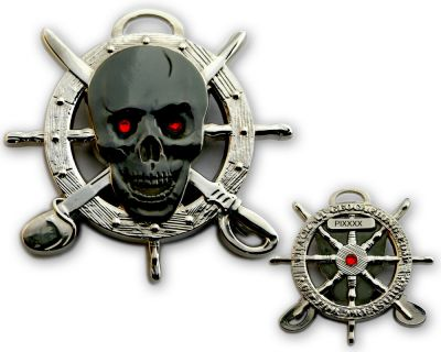 Pirate Skull Geocoin Two Tone Silber/Schwarz LE 125