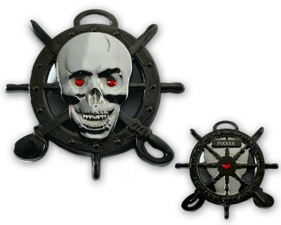 Pirate Skull Geocoin Two Tone Schwarz/Silber LE 125