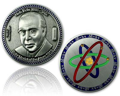 Atommodell Niels Bohr Geocoin Antik Silber