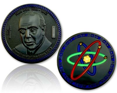 Atommodell Niels Bohr Geocoin Black Nickel XLE 75
