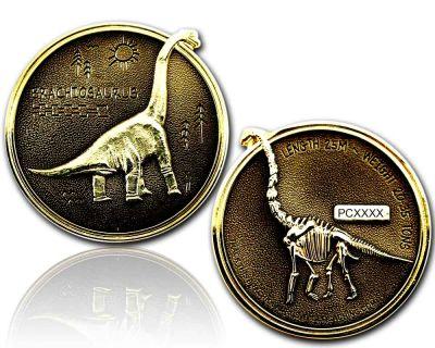 Brachiosaurus Geocoin Gold / Black