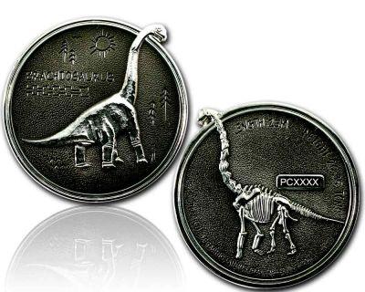 Brachiosaurus Geocoin Silber / Black
