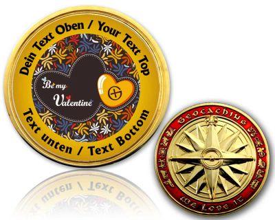 Be my Valentine Geocoin mit deinem Text