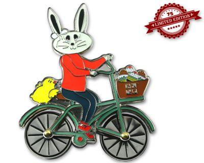 Easter Bunny Fahrrad Geocoin Pol. Silber XLE 75 (drehbare Räder)