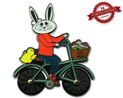 Easter Bunny Fahrrad Geocoin Black Nickel XLE 75 (drehbare Räder)