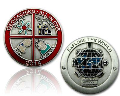 Geocaching - All In One Geocoin 2014 Antik Silber