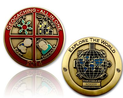 Geocaching - All In One Geocoin 2014 Antik Gold