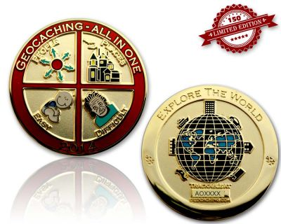 Geocaching - All In One Geocoin 2014 Pol. Gold LE 150