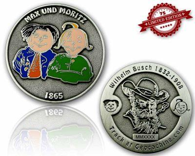 Max & Moritz (Wilhelm Busch) Geocoin Antik Silber LE 75