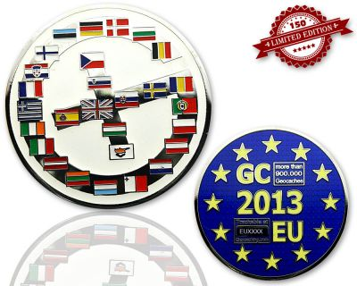 Geocaching Europe Geocoin Poliertes Silber LE