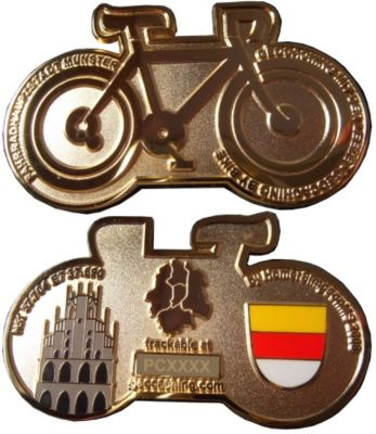 M?nster Geocoin Poliertes Gold LE