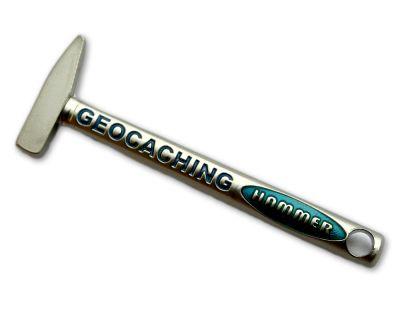 Geocaching Hammer Geocoin Satin Silber