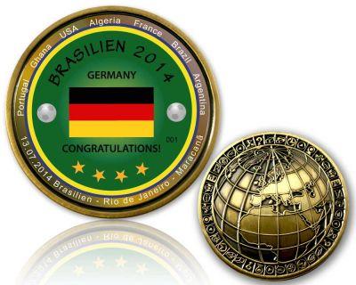 2014 Brasilien - Weltmeister Geocoin Antik Gold