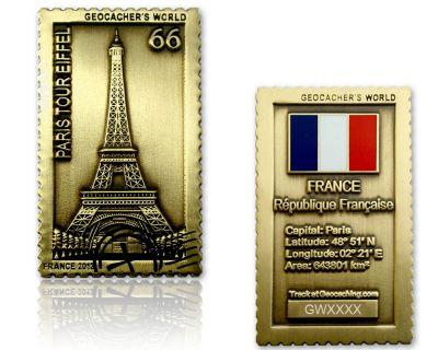 Geocacher's World Geocoin -FRANCE- Antik Gold