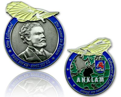 Otto Lilienthal Geocoin Antik Silber