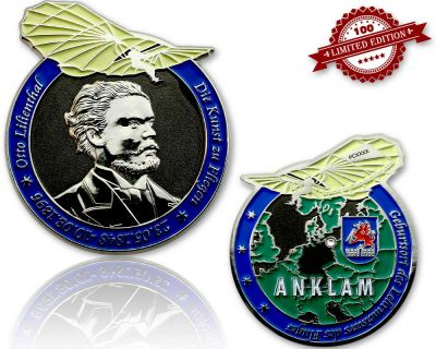 Otto Lilienthal Geocoin Black Nickel/Silber LE 100