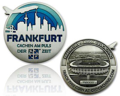 Frankfurt Geocoin Antik Silber - BLAU