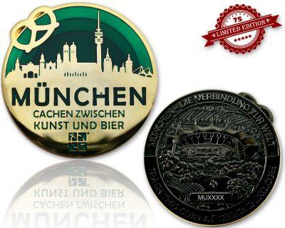 M?nchen Geocoin Black Nickel / Gold - GR?N XLE 75