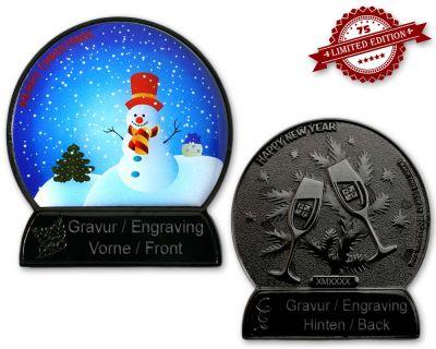 Weihnachtskugel Geocoin Black Nickel mit Gravur XLE 75