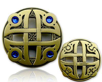 Celtic Fantasy Geocoin Antik Gold BLAU