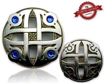 Celtic Fantasy Geocoin Antk Gold / Silber BLAU