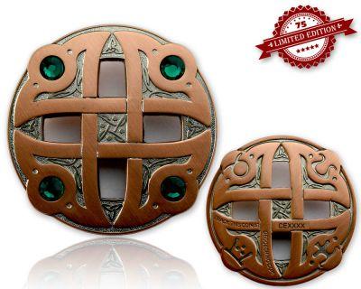 Celtic Fantasy Geocoin Antk Silber / Kupfer GRÜN