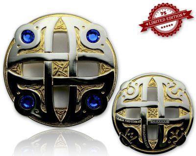 Celtic Fantasy Geocoin Gold / Silber BLAU