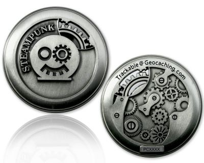 Steampunk Geocoin Antik Silber
