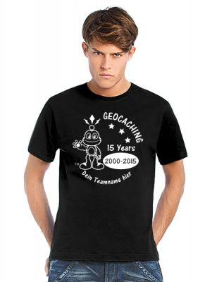 Geocaching T-Shirt   15 Jahre Geocaching schwarz (optional mit T