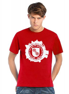Geocaching T-Shirt | GIGA Mainz Gutenberg 2015 Skyline rot