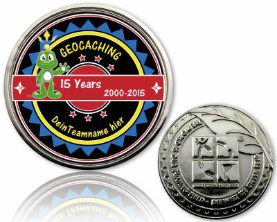 15 Jahre Geocaching Geocoin mit deinem Teamnamen Silber