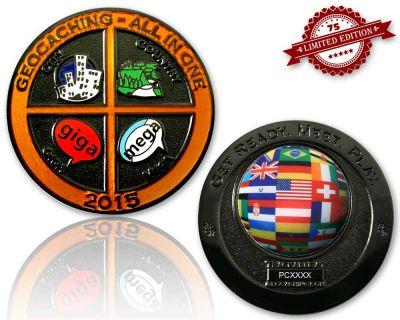 Geocaching - All In One Geocoin 2015 Black Nickel XLE 75