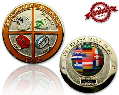 Geocaching - All In One Geocoin 2015 Poliertes Gold XLE 75