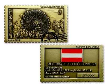 Geocacher's World Geocoin -AUSTRIA- Antik Gold