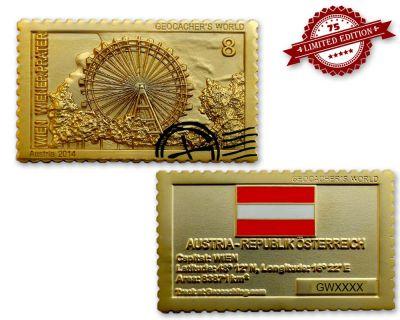 Geocacher's World Geocoin -AUSTRIA- Satin Gold XLE 75