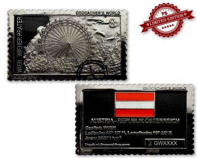 Geocacher's World Geocoin -AUSTRIA- Black Nickel / Silber XLE 75