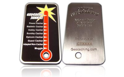 Cacher Thermometer Geocoin Antik Silber