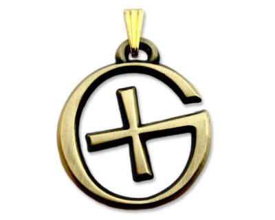 GeoSchmuck Geocaching Logo Antik Gold