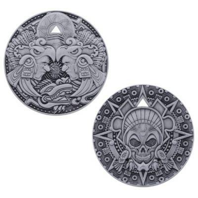 Aztec Pirate Geocoin Antik Silber