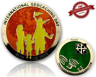 Int. Geocaching Day Geocoin 2015 Orange Glow LE 100