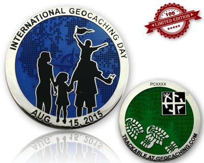 Int. Geocaching Day Geocoin 2015 Blau LE 100