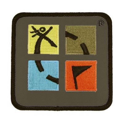 Farbiger Geocaching Patch 75 mm x 75 mm