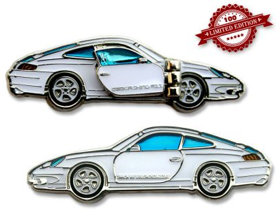 Turbo 911 Geocoin - Arctic White LE 100