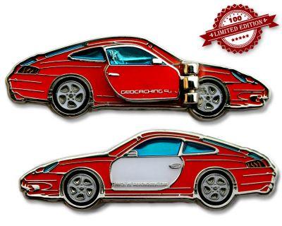Turbo 911 Geocoin - Velvet Red LE 100