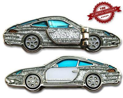 Turbo 911 Geocoin - Crystal Silver LE 100
