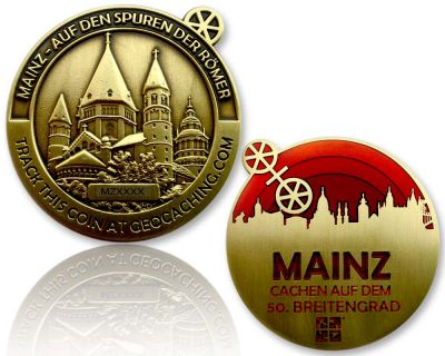 Mainz Geocoin Antik Gold - ROT