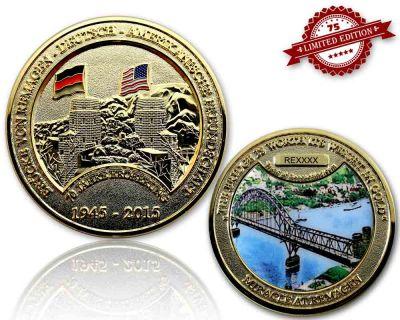 Remagen Geocoin Poliertes Gold XLE 75