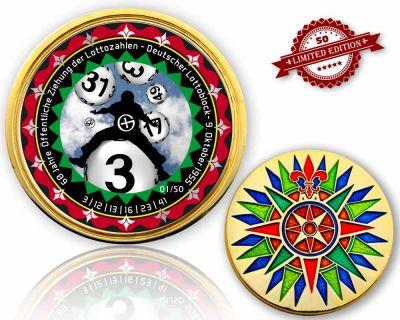 60 Jahre Lotto Geocoin Poliertes Gold XLE 50