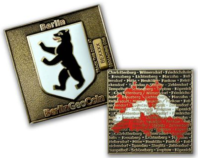 Berlin - Bundesland Geocoin Antik Gold